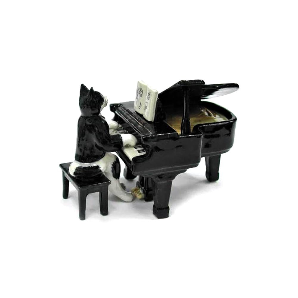 Musician Cat with Grand Piano- miniature porcelain figurine