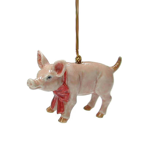 Pig with Red Bow Christmas Ornament - Porcelain Animal FIgurines - Northern Rose, Little Critterz