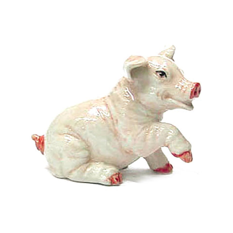 Pink Pig Sitting - Porcelain Animal FIgurines - Northern Rose, Little Critterz
