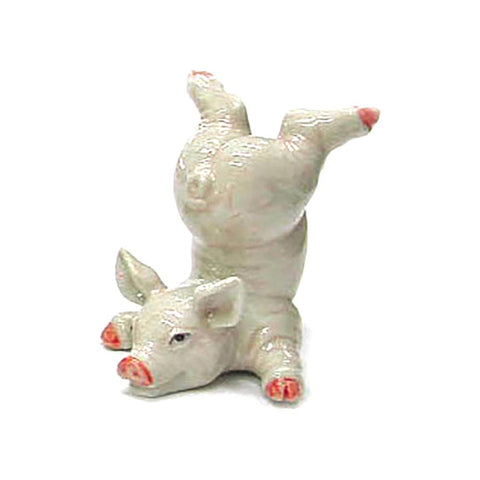 Pink Pig Head Down - Porcelain Animal FIgurines - Northern Rose, Little Critterz