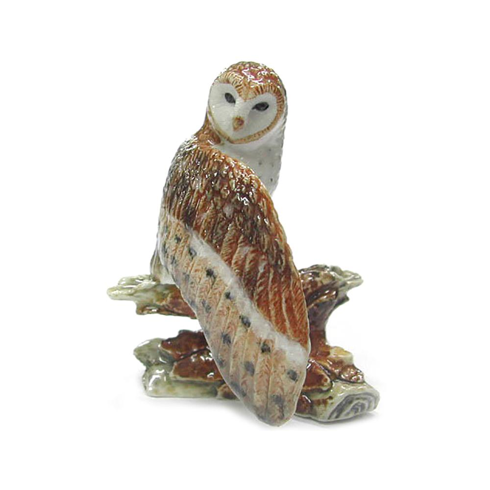 Owl - Barn Owl on Branch - Porcelain Animal FIgurines - Northern Rose, Little Critterz