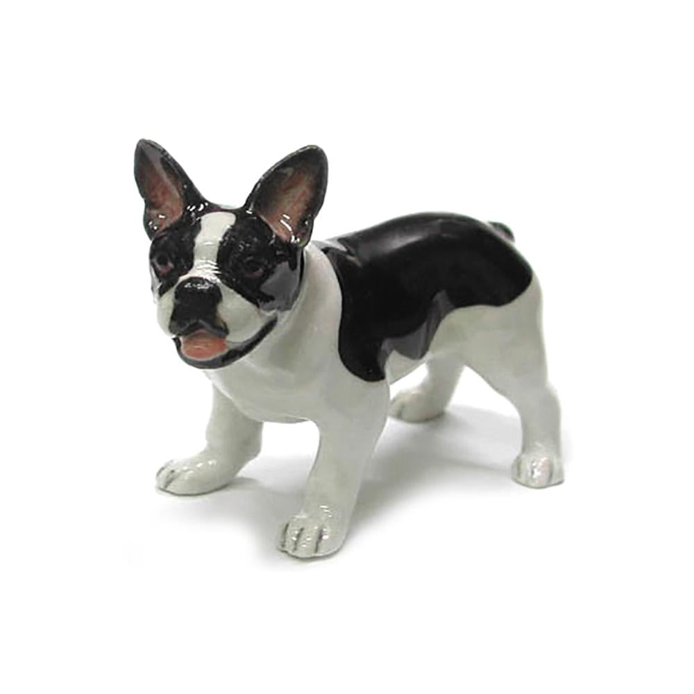 Dog - Black and White French Bulldog - Porcelain Animal FIgurines - Northern Rose, Little Critterz