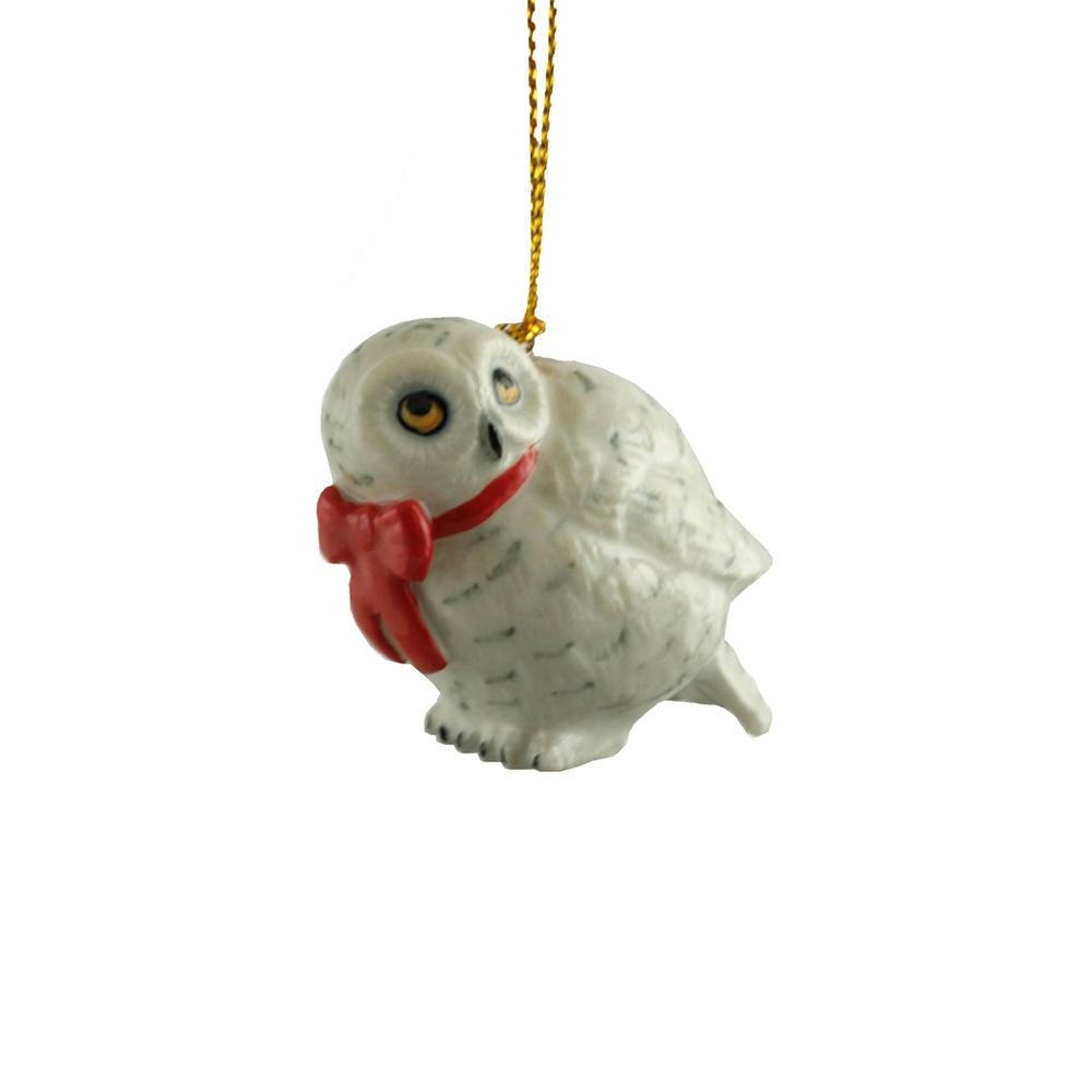 Owl - Snowy Owl with Red Bow Ornament