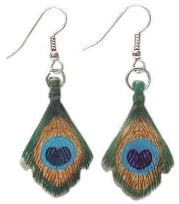 Peacock Feather Earrings - Porcelain Animal FIgurines - Little Critterz Jewelry, Little Critterz