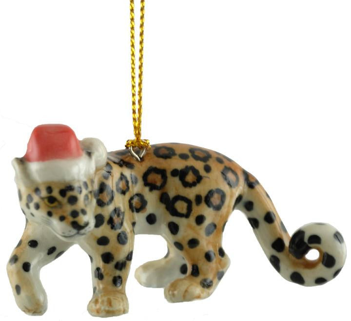 Leopard with Santa Hat Ornament - Holiday €� Little Critterz