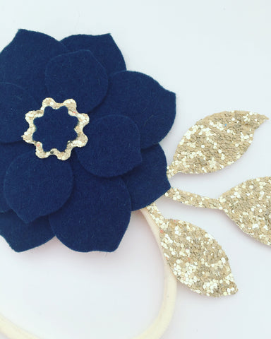 French Navy and Matt Gold Floral