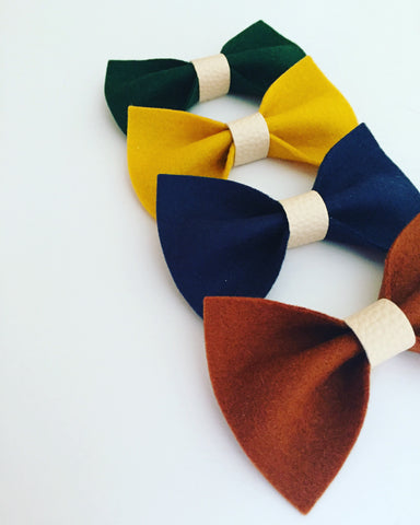 Wool Felt And Leather Bows
