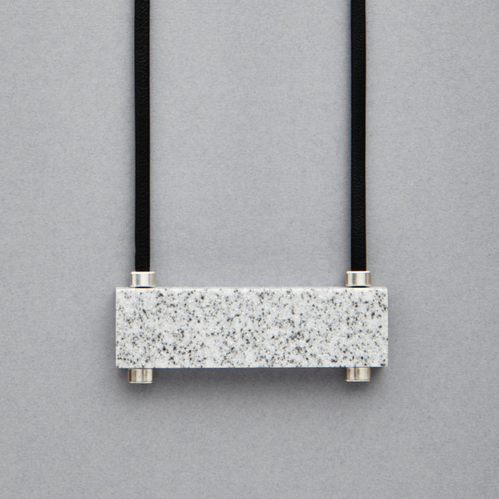 Luna necklace by Blokk. Minimal, monochrome jewellery. Handmade in the UK.