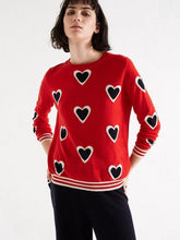 Load image into Gallery viewer, Red All Over Contrast Heart Cashmere Sweater - Debs Boutique
