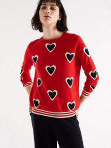 Red All Over Contrast Heart Cashmere Sweater - Debs Boutique