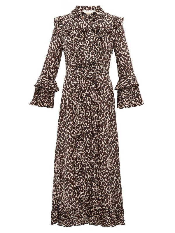 La DoubleJ Long Fancy Dress in Leopard, a full length dress with a slim fit through the shoulders and body and trumpet sleeves available at Debs Boutique.