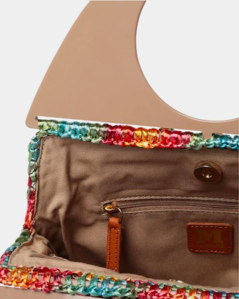 Missoni Circle Handle Bobble Bag in multicoloured bubble-stitched raffia available at Debs Boutique. View of features inside bag.