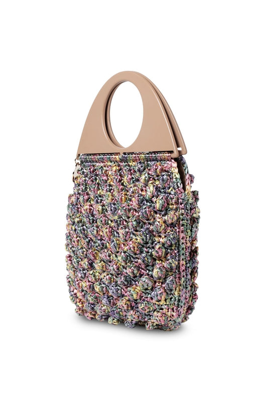 Missoni Circle Handle Bobble Bag in multicoloured bubble-stitched raffia available at Debs Boutique. Front angle view.