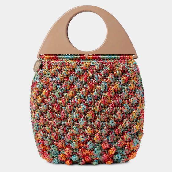 Circle Handle Bobble Bag - Debs BoutiqueMissoni Circle Handle Bobble Bag in multicoloured bubble-stitched raffia available at Debs Boutique. Close up view