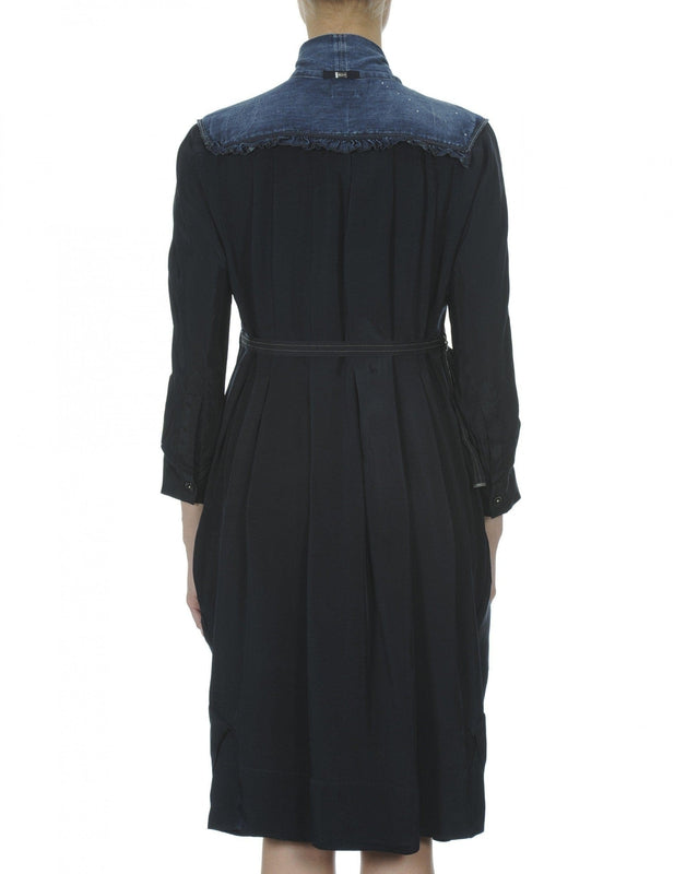High by Claire Campbell Fervent Denim Dress in Navy with curved bib section in pre-creased denim available at Debs Boutique. Back View.