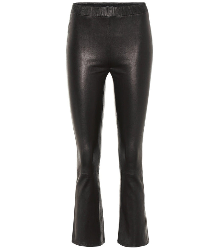 J Brand Washable Leather cropped flared pant with elastic waist now in Debs Boutique.