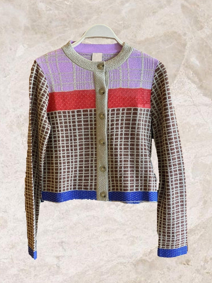 Check Colourblock Lurex Cardigan-Cardigan-M Missoni-Debs Boutique