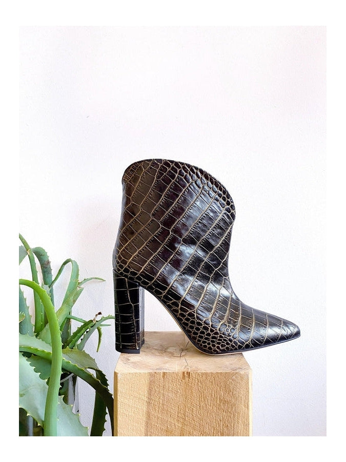 Moc Croc Rounded Ankle Boot-Paris Texas-Debs Boutique