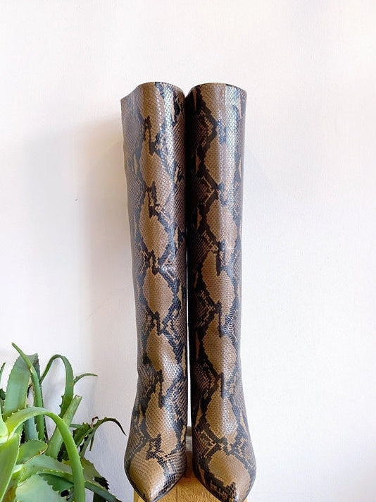 Snake Print High Boot-Paris Texas-Debs Boutique