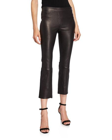 J Brand Cropped Flared washable leggings on model with stiletto sandals