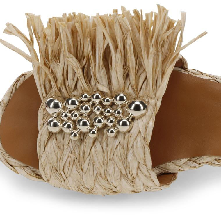 Clergerie Amazing Sandal in natural rafia at Debs Boutique - close top view
