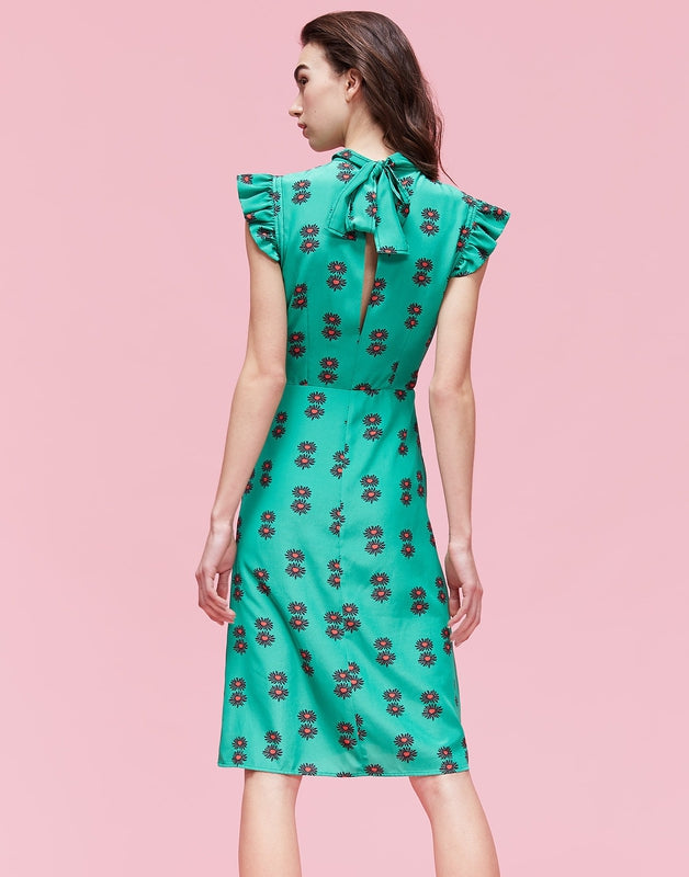 La DoubleJ Bon Ton Dress in Green Floral Print, from the back on a model with necktie and slim fit.
