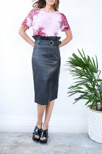Claudia Leather Midi Skirt - Debs Boutique