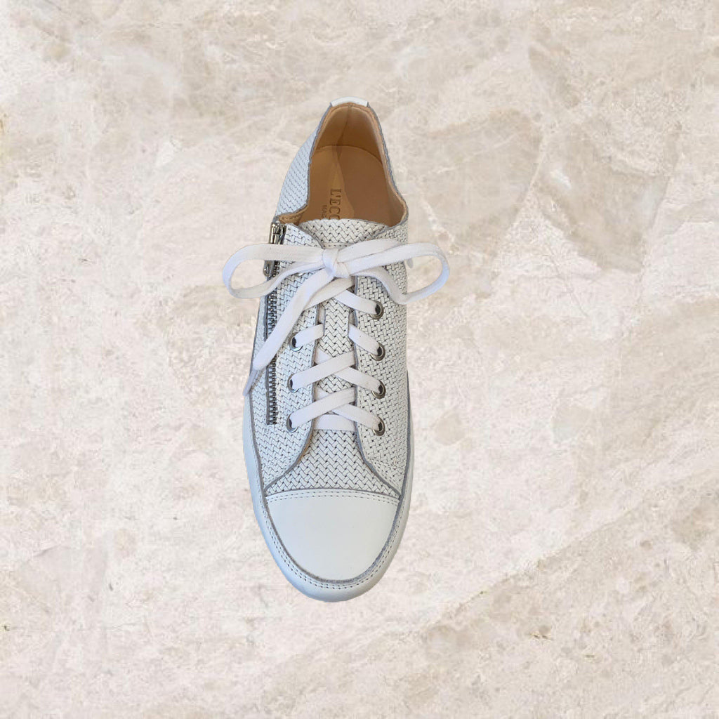 Textured White Zip Sneaker-Shoes-L'Ecologica-Debs Boutique
