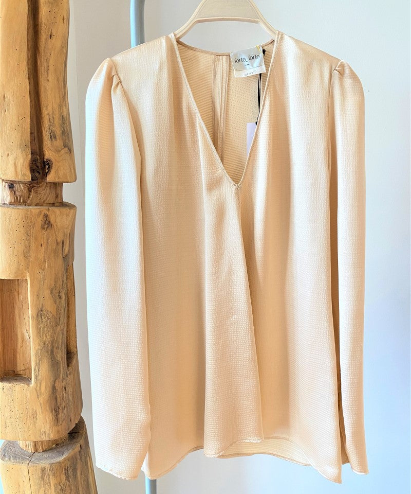Viscose Cloquet Satin V Neck Shirt-Shirt-forte_forte-Debs Boutique