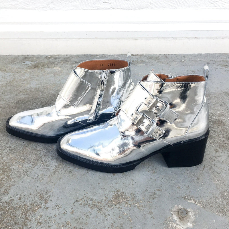 Clergerie Caius Ankle Boots in shiny silver with square toe and buckled straps at Debs Boutique.