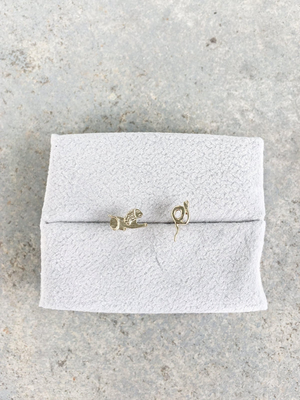 Lucy Folk L.F. Stud Earrings in 9 carat yellow gold, inspired by Egyptian hieroglyphic, Lion stands for L and snake strands for F available at Debs Boutique.