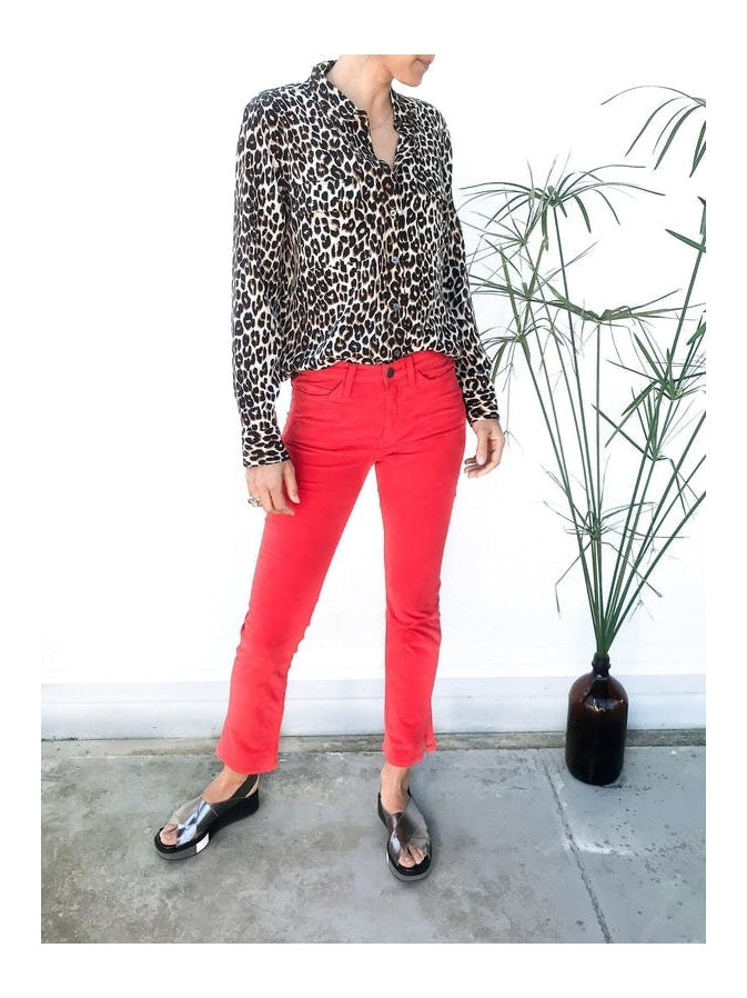 MiH Daily Velvet Highrise Slim Jean in Cherry Red with side split details and a slim fit available at Debs Boutique. Styled on model wearing Equipment Slim Signature Leopard Shirt. Front view.
