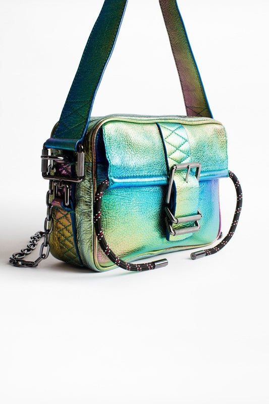 Zadig & Voltaire Johnny Rainbow bag in Multi, with a thin strap and buckle, made of soft but think multicoloured metallic leather available at Debs Boutique. Style view of bag.