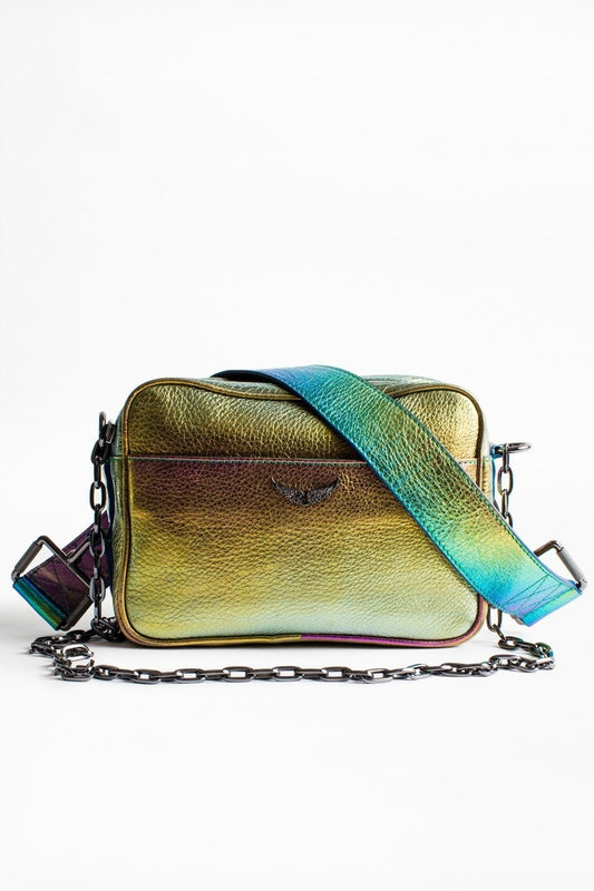 Zadig & Voltaire Johnny Rainbow bag in Multi, with a thin strap and buckle, made of soft but think multicoloured metallic leather available at Debs Boutique. Back view.