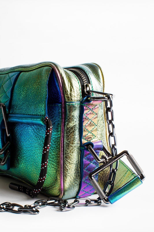 Zadig & Voltaire Johnny Rainbow bag in Multi, with a thin strap and buckle, made of soft but think multicoloured metallic leather available at Debs Boutique. Close up view of detailing.