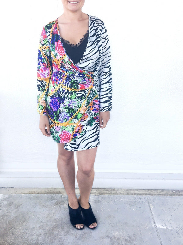 Rixo Abba Mini Dress in shell chain mixed floral at Debs Boutique styled with Clergerie Maevat Mules - Front view