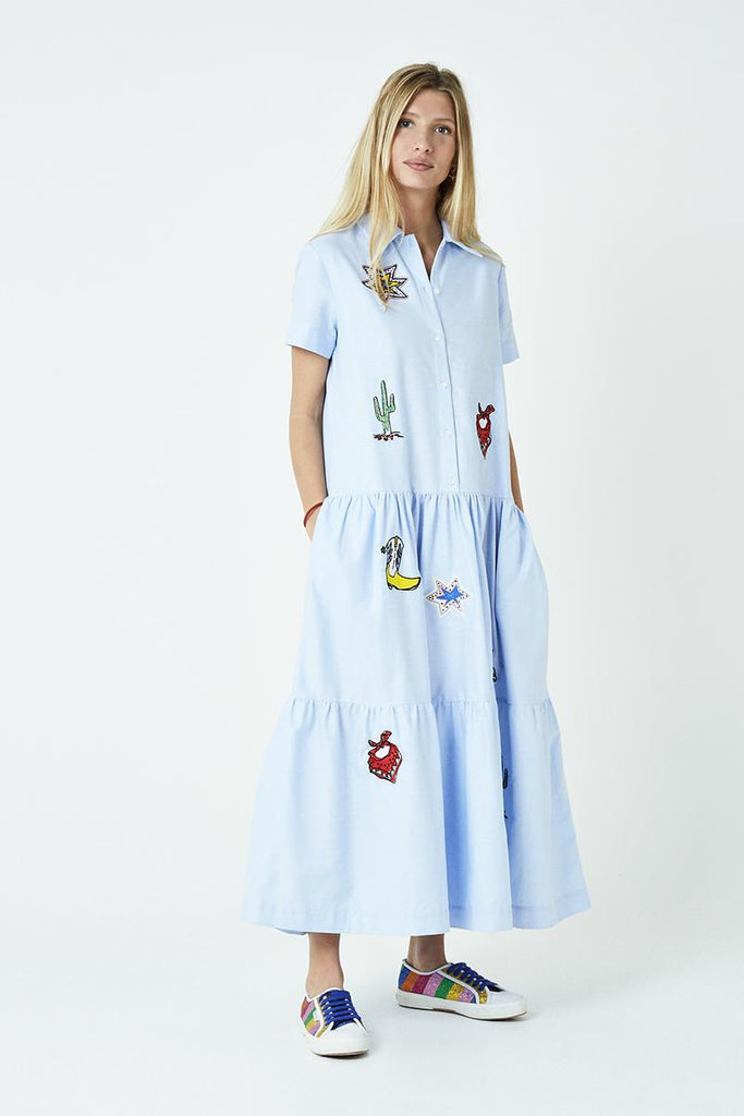 Icons Embroidered Shirtdress-Dress-Mira Mikati-Debs Boutique
