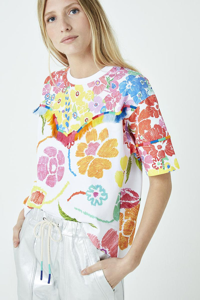 Floral print rainbow fringe tee-T-Shirt-Mira Mikati-Debs Boutique