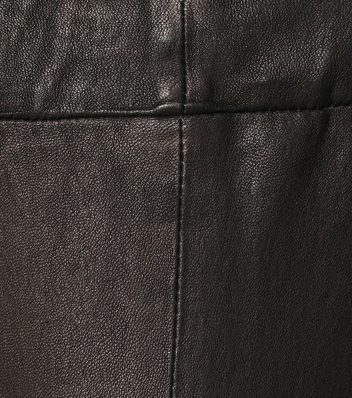 Stitching and leather close up details of the J Brand Washable jeans