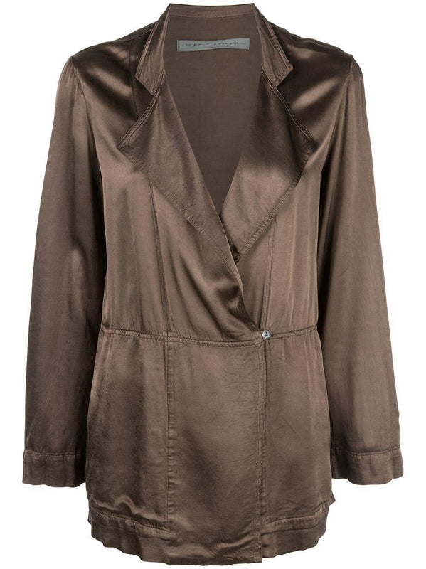 Raquel Allegra Layering Blazer in Dark Nude, oversized wrap jacket with v neck, long sleeves and button fastening available at Debs Boutique.