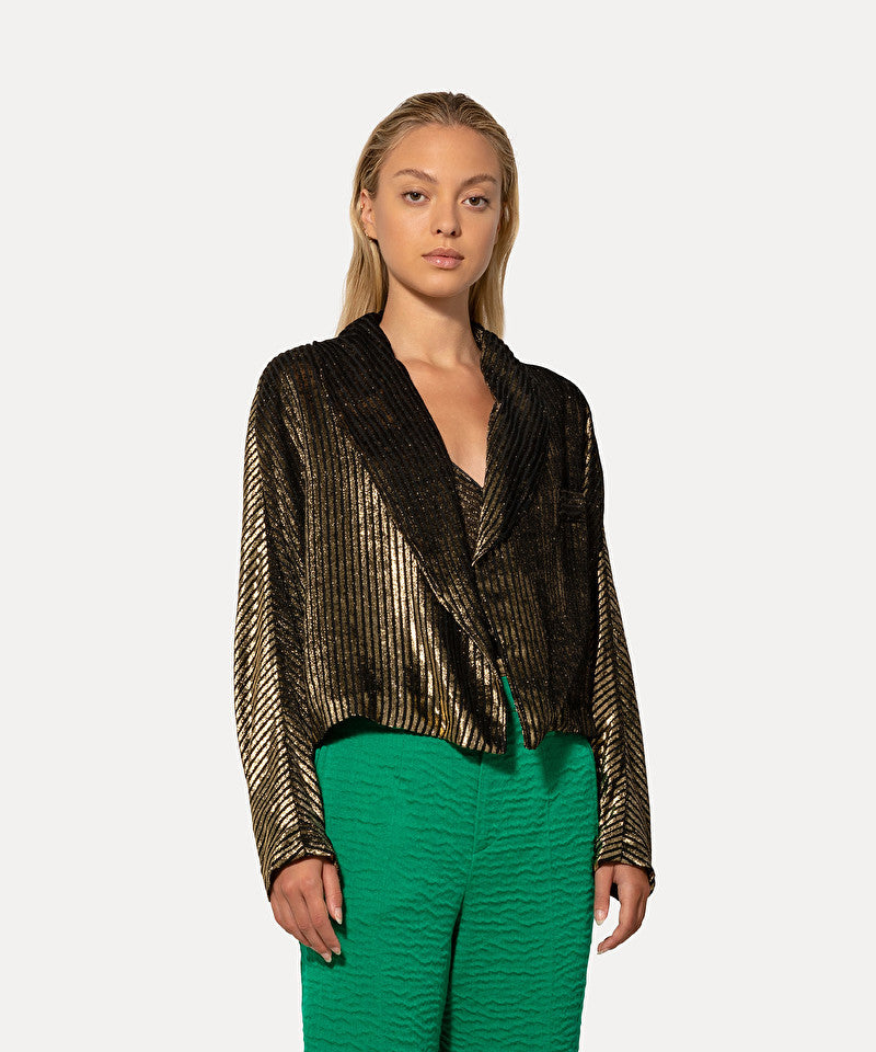 Laminated Devore Velvet Spencer Jacket-Jacket-forte_forte-Debs Boutique