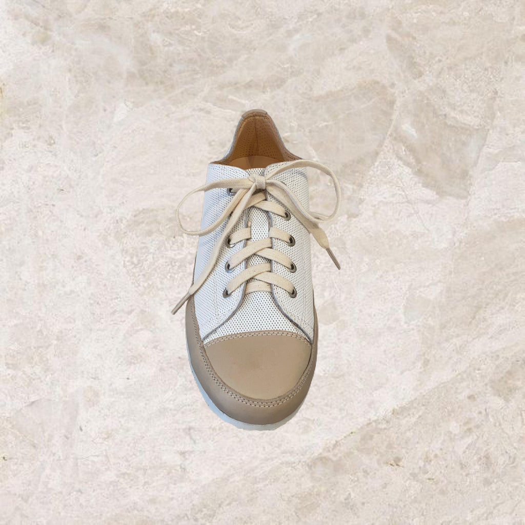 White/Taupe Perforated Sneaker-Shoes-L'Ecologica-Debs Boutique