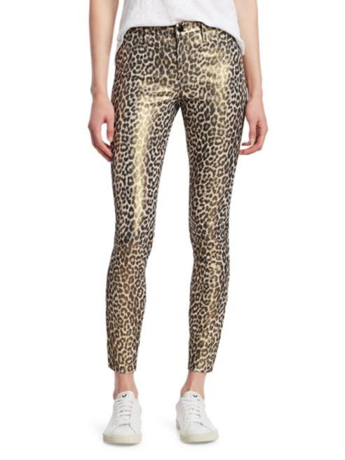 J Brand Jaguar Skinny Leather Pants in Jaguar Print with skinny leg stretch leather, zip cuffs and a glittery finish. Styled on model front view.
