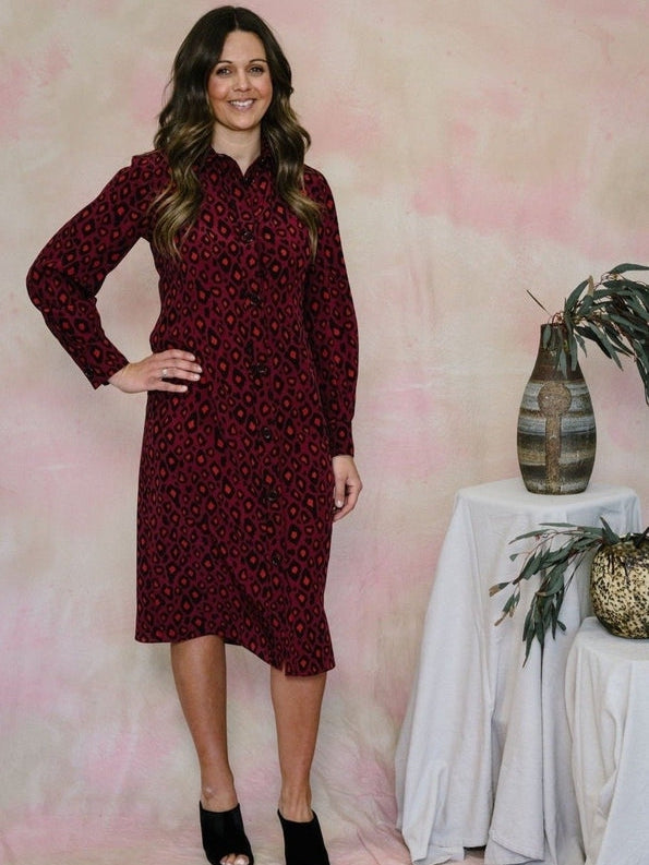 Leopard Silk Shirtdress-Aspesi-Debs Boutique