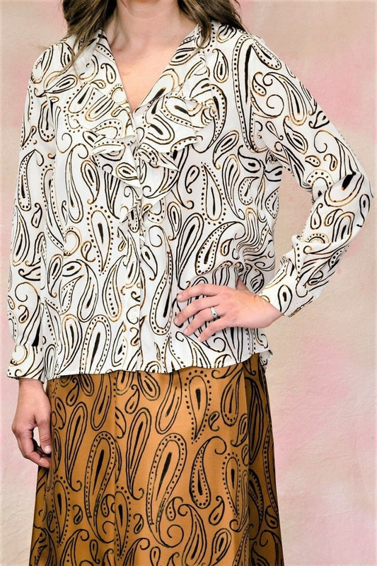 Print Silk Frill Blouse-Blouse-Aspesi-Debs Boutique