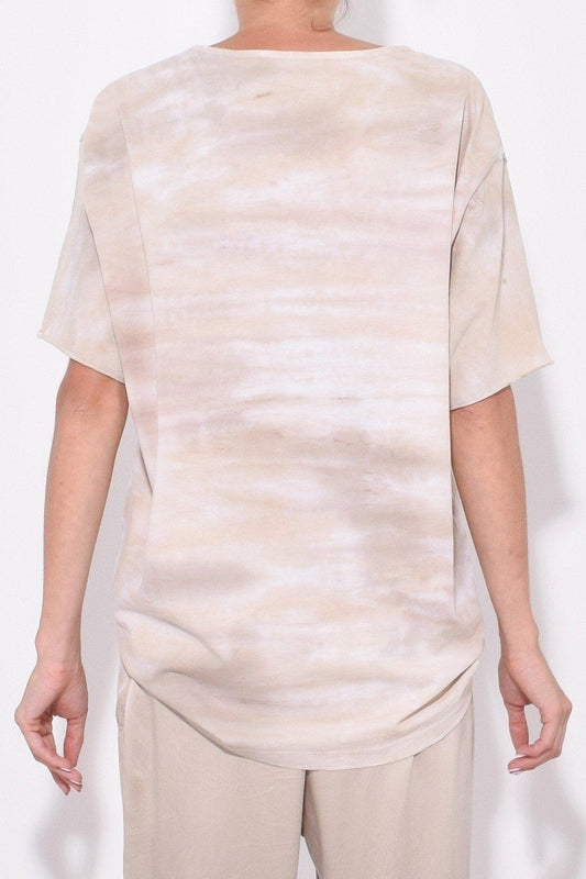 Raquel Allegra New Boxy Tie-Dye Tee in Sand, with a round neck, short sleeves and a relaxed fit available now at Debs Boutique. Styled on model, back view.