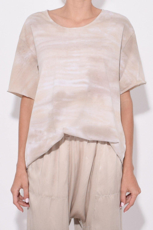 Raquel Allegra New Boxy Tie-Dye Tee in Sand, with a round neck, short sleeves and a relaxed fit available now at Debs Boutique. Styled on model.