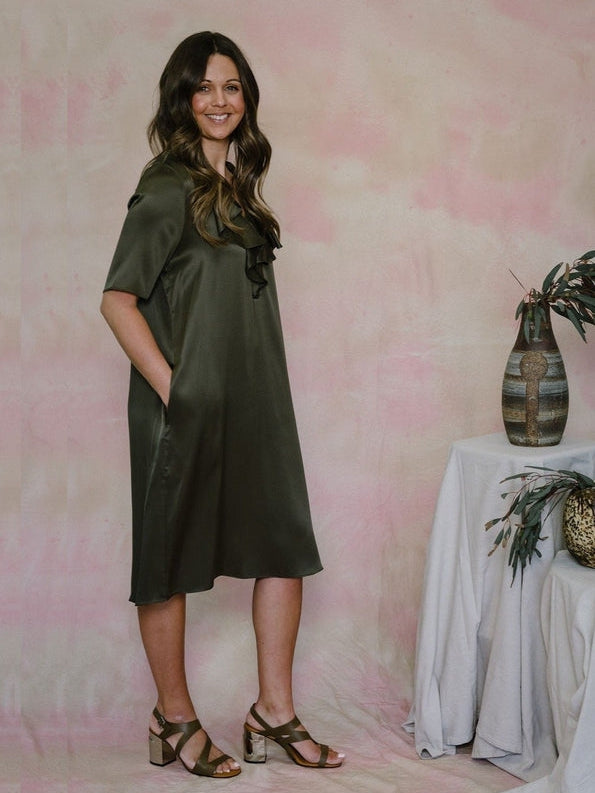 Ruffle Silk Dress-Dress-Aspesi-Debs Boutique