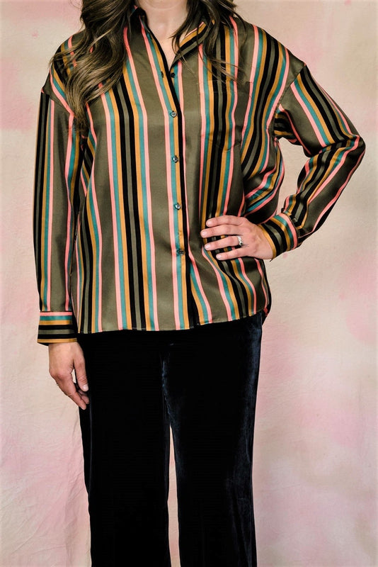Stripe Silk Shirt-Blouse-Aspesi-Debs Boutique