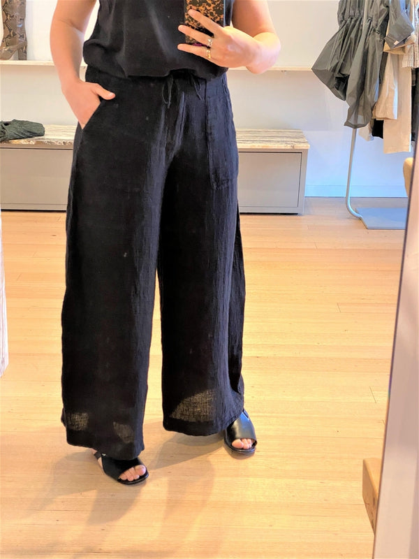 Wide Textured Linen Pant-Pant-Transit-Debs Boutique